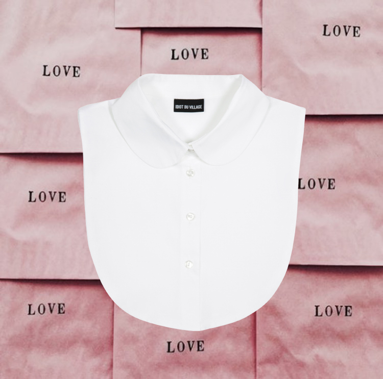 head in the clouds white idiot du village collar bib collar mockshirt losse kraagjes